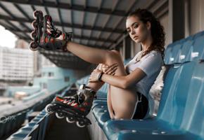 elena borisova, model, brunette, russian, rollerskates, legs, stadium, depth of field, 4k, uhd, roller skates, inline skates