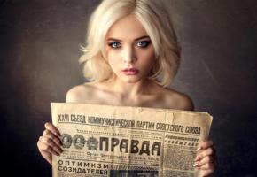 kristina mamatyukova, model, pretty, babe, blonde, blue eyes, russian, sensual lips, juicy lips, newspaper, face, pravda, 4k