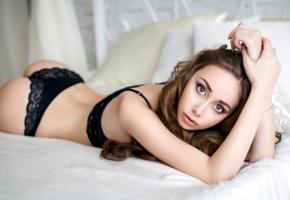 model, pretty, babe, russian, brunette, sensual lips, bra, panties, lingerie, no nude, 4k, uhd, denis petrov studio, lingerie series