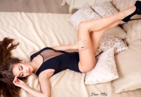 model, pretty, babe, brunette, russian, undies, underwear, legs, platform high heels, stilettos, no nude, 4k, uhd, denis petrov studio