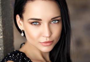 angelina petrova, model, pretty, babe, dark hair, green eyes, russian, sensual lips, face, 4k, uhd, denis petrov studio