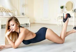 model, pretty, babe, russian, legs, platform high heels, stilettos, lingerie, 4k, denis petrov studio, non nude