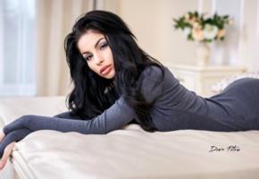 model, pretty, babe, dark hair, russian, sensual lips, juicy lips, dress, face, 4k, denis petrov studio, uhd