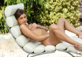 maria ryabushkina, maria, tara, melena, maria rya, auburn, chair, outdoors, naked, tanned, tits, nipple pull, hi-q