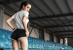 elena borisova, model, brunette, russian, pants, back, stadium, depth of field, 4k, non nude, shorts