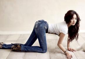 park min young, model, actress, republic of korea, rok, brunette, jeans, stilettos, 4k, non nude