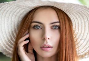 model, pretty, babe, russian, redhead, green eyes, sensual lips, hat, 4k, face