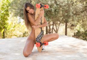 maria ryabushkina, maria, tara, melena, maria rya, auburn, outdoors, skateboard, naked, tanned, shaved pussy, smile, running shoes, hi-q