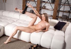 nimfa, model, blue eyes, long hair, russian, small tits, tits, beautiful legs, panties, nude, sofa