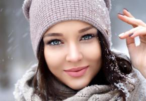angelina petrova, model, babe, dark hair, blue eyes, russian, sensual lips, face, snow, hat, beanie, 4k