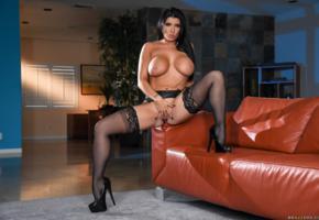 romi rain, nude, stockings, tits, pussy, shaved, pornstar, labia, brunette, boobs, big tits, black stockings
