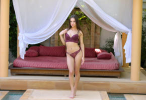 gloria sol, aaliyah, penelope y, sophie, brunette, lingerie, outdoors, bra, panties, pierced navel, hi-q