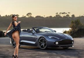 maria ryabushkina, maria, tara, melena, maria rya, auburn, car, dress, no panties, ass, sunglasses, high heels, smile, hi-q, aston martin