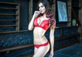 sofia kazakova, model, brunette, sensual lips, russian, big tits, boobs, red bra, bra, red panties, panties, lingerie, 4k, lingerie series