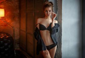 model, pretty, babe, brunette, russian, glasses, black bra, bra, black panties, panties, jacket, lingerie, 4k, lingerie series