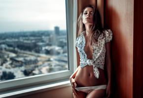ksenia kokoreva, model, pretty, babe, brunette, russian, jacket, no bra, panties, window, lingerie, 4k, georgy chernyadyev studio