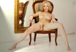 katja riemann, german actress, curly, mature, shaved pussy, pussy lips, mirror, chair, posing, blonde, pussy, labia, boobs