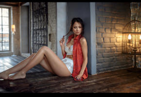 model, brunette, pretty, log hair, russian, jacket, bra, white panties, panties, lingerie set, legs, non nude, 4k, georgy chernyadyev studio
