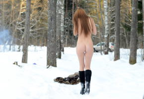 alma, winter, boots, snow, coat, ass, back