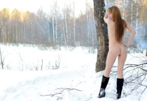 alma, erotic beauty, gorgeous wood nimpf, winter, boots, snow, ass
