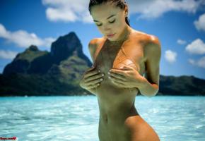 alexis ren, kim akrich 2017, final fantasy xv, sexy girl, sexy brunette, sexy ftopx girl, perfect tits, perfect body, tanned, sea, tropics, wet, ocean, nude