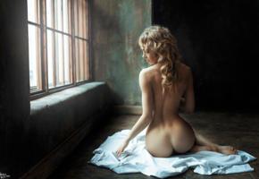 model, pretty, babe, blonde, russian, back, bum, ass, nude, georgy chernyadyev studio