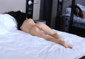 amelie b, model, dark hair, supine, pussy, labia, ass, legs, mirror, reflection, bed, bedroom, nude