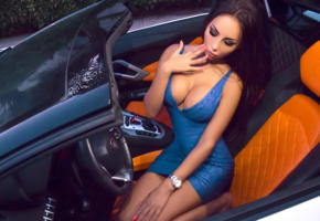 svetlana bilyalova, model, pretty, babe, dark hair, big tits, boobs, blue dress, car, lamborghini, sexy, decollete, 4k