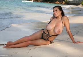 valory irene, beach, milf, natural big tits, smile, sand, water, super boobs, knockers, juggs, funbags, gazongas, wet