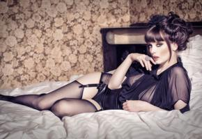miss silver, brunette, british, glamour, erotic model, sexy babe, amazing eyes, laying, bed, erotic, lingerie series, black, dessous