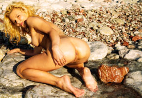 ariel, wet, doggy, pussy, ass, beach, tits, redhead