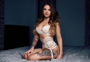 meagan eldridge, brunette, american, tattoo, erotic model, babe, long hair, body art, posing, lingerie, erotic