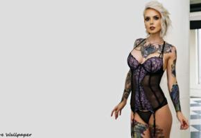inked, cuty, tattoo model, hot body, lingerie, corselet, sexy, decollete, minimalist wall, body art, tattoo, lingerie series