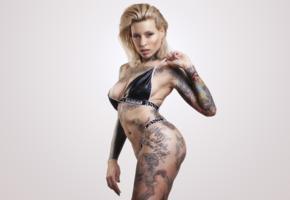 lucie clement, blonde, inked, tattoo, bikini, minimalist wall, body art