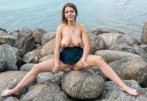 yelena, auburn, beach, rocks, dress, naked, big tits, nipples, shaved pussy, labia, meat curtains, spread legs, smile, ultra hi-q