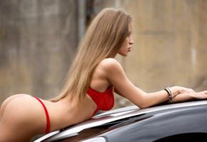 model, pretty, red bra, bra, red panties, car, no nude, 4k, slim, long hair