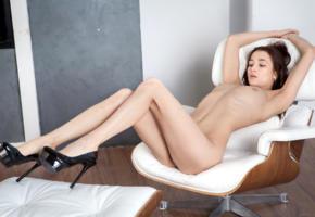 layna, model, brunette, russian, armchair, legs, platform high heels, stilettos, skinny, tits