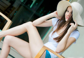 rylee marks, model, pretty, babe, brunette, young, hat, smile, legs, outdoors