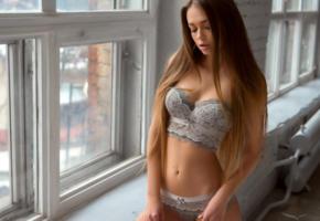 liubov guliak, model, brunette, russian, sensual lips, lingerie, windows, 4k