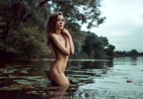 ksenia kokoreva, model, brunette, lake, nature, nude, 4k, georgy chernyadyev studio
