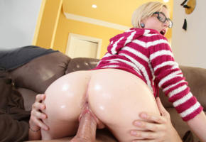 ass, pussy, wet, fat ass, oiled, sex, dick, glasses, blonde, unknown