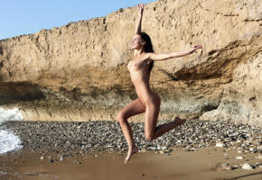 cecelia, galina a, geraldine, sandy, brunette, beach, naked, jumping, big tits, nipples, smile, hi-q, sea, tanned