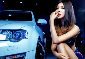 model, asian, dark hair, sensual lips, car, face, 4k