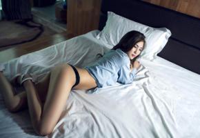 model, pretty, dark hair, asian, black panties, jacket, stilettos, bed, bedroom, 4k, non nude, pillows