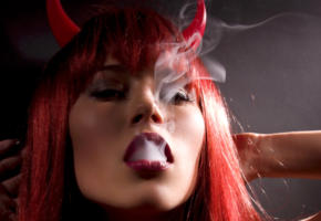 kate moss, super model, red hair, lips, smoke, evil, face, 4k