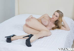 all natural, labia, vagina, pussy, tits, big tits, boobs, blonde, ass, high heels, lying down, spreading ass, kendra sunderland