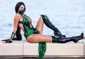giorgia vecchini, hot, curvy, brunette, cosplayer, sexy dressed, shiny clothes, leather, overknee boots, hi-q, cosplay, fetish babe