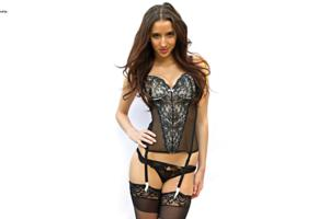 belle knox, slim, glamour, erotic model, sexy babe, smile, corset, stockings, minimalist wall, own cut, lingerie series