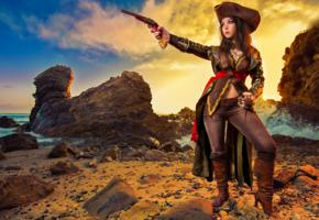 unknown, brunette, pirate, cosplay, jaqueline sparrow, fantasy girl, background, photo art, babes in boots, monika lee, assassins creed black flag, assassins creed