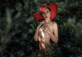 ksenia kokoreva, model, pretty, babe, russian, hat, handbra, nature, 4k